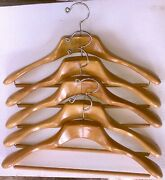 Antique Wooden Hangers 5 French Collar Suit/slacks 1930and039s Very Good Condition