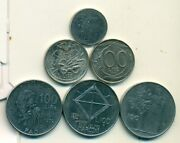 6 Different 100 Lire Coins From Italy - 1956/1974/1979/1990/1995/1996 6 Types