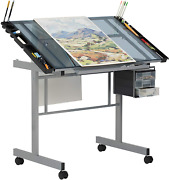 Tempered Glass Drafting Table 10053 Vision Craft Station In Silver / Blue Glass