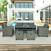 6pcs Rattan Wicker Patio Garden Backyard Sofa And Chair And Stools Andtable Set Casual