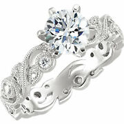 1 1/3ct Vintage Diamond Engagement Ring With Filigree Antique Accents White Gold
