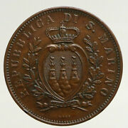 1893 R San Marino Italy Wreath And Crown Antique Vintage 10 Centismo Coin I93695