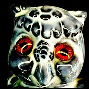 Vintage Owl Figurine Glass Eyes Glossy Gray White Statue Magic Wiccan Signed 70'
