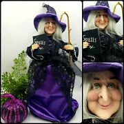 Wicked Witch Tree Topper Halloween Spell Book Purple Staff 16 Wiccan Goth Decor