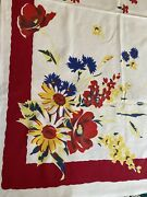 """Wilendur Tablecloth 54"""" X 66"""" Red Yellow Blue Large Floral Print"""
