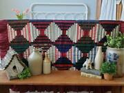 Antique C1890 Pa Wool And Velvet Pull Tie Log Cabin Quilt 70x53 Victorian