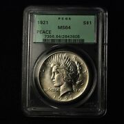 1921 1 Liberty Peace Silver Dollar Pcgs Ms 64 Tough Date Us Coin