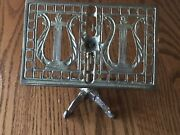 Vintage Brass Miniature Music Stand With Harps On The Top