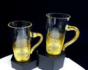 Murano Italy Crystal Gold Aventurine Applied Handle 2 Piece 4.625 Latte Cups