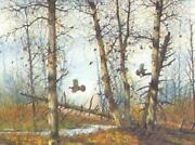 David Hagerbaumer Last Leaves Of Autumn - Ruffed Grouse Artistand039s Proof On Paper