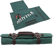 Large Tool Roll Bag, Heavy Duty Waxed Canvas Wrench Tool Pouches,wrench/plier/sc