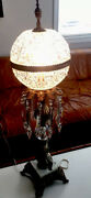 Pair Stunning Vintage Leaded Crystal Domed Lamps W Spear Drops Cherubs Marble