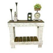 Farmhouse Sofa Hall Table Solid Display Storage Reclaimed Wood Distressed White