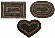Tartan Braided Area Rug Heart Oval And Rectangle. Many Sizes. Blackred