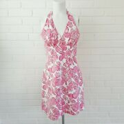 Lilly Pulitzer Halter Dress 4 Night Owl Vintage White Label Lilly Pink White