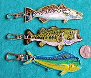 Two 2 Embroideded Fish Key Chains - Speckled Trout And Largemouth Bass - Fishing