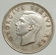 1949 South Africa George Vi Springbok Deer Silver 5 Shillings Large Coin I93789