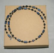 Silpada Sterling Blue Sodalite And Crystal Choker Necklace On Memory Wire N1090