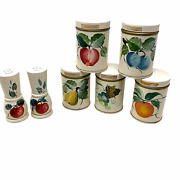 Vintage Painted Fruit Toleware Metal Spice Containers Shakers Farmhouse Cottage