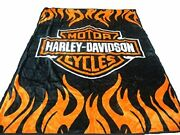 Harley Davidson Queen Full Size Soft Plush Polyester Blanket Throw For Bed Decor