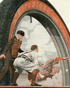 1916 Vintage Firestone Tires Big Color Ad Old Time Baseball. Close Play At Home