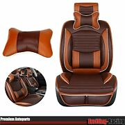 Front+rear 5 Seats Suv Car Seat Cover Cushions Full Set Deluxe Brown Pu Leather
