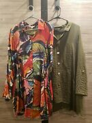 John Mark Blouse Lot Size Xl Multicolor And Green Button Up Red Two Shirts 2172