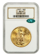 1927 20 Ngc/cac Ms63 - Saint Gaudens Double Eagle - Gold Coin