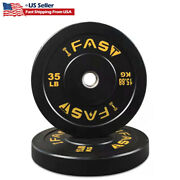 Total 70lb Olympic Barbell Plates Rubber Bumper Weight Fitness Gym Workout New