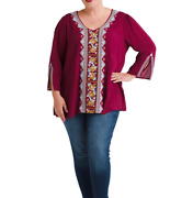 New Andree By Unit Johnny Embroidered Split Sleeve Tunic Blouse Top 1x