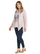 New Andree By Unit Johnny Pink Embroidered Hanky Hem Embroidered Blouse Top 3x