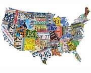 Usa License Plate Jigsaw American 1000 Pieces Complete Width More Than 78cm Map