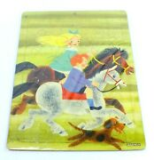 Vintage Saalfield Picture Puzzle Tray Bandl Myers Boy And Girl Riding Horses 7010