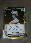 2021 Bowman Nick Madrigal Rc Auto Gold Refractor /50 Sp