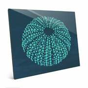 Urchin Dots In Teal Blue Wall Art Print On Acrylic