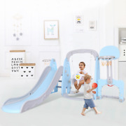 5 In 1 Kids Indoor And Outdoor Slide Swing And Basketball Football Set