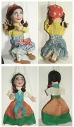 Marionettes String Puppets Fortune Teller With Cards And Lady W/ Brunette Braids