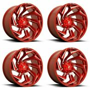 Set 4 20 Fuel D754 Reaction Candy Red Milled Wheels 20x9 5x5.5/150 1mm Rims