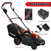 40v 16 Inch Electric Lawn Mower Cordless Push Lawn Mowers Twin Force W/2 Battery