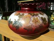 Vintage Lamp Shade Gwtw Hand Painted Floral Ruffle Hurricane Oil Glass- 9 3/4