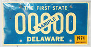 Collectible License Plate Sample Sam Delaware 00000 The First State Dover 1974