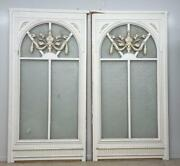 9and039 Pair French Antique Windows-solid Wood Hammered/pebbled Translucent Glass