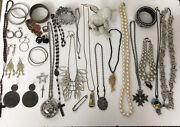 Vintage /now Jewelry Lot Brooch Necklace Bracelet Earring E- Girl Goth Vampire