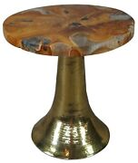 Diamond Home Round Indonesian Teak Wood Epoxy Brass Side Accent Table 20
