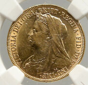 1899 Australia Uk Queen Victoria Old Saint George Gold Sovereign Coin Ngc I94021