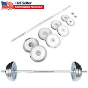 Barbell Weight Set 210lbs Cast Iron Adjustable Chrome Cast Plates Lifting Gym Us