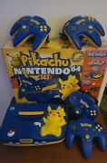 Nintendo 64 Pikachu Version Console With Original Box And 4 Oem Controllers Rare