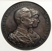 1859-1941 Wilhelm Ii And Augusta Victoria Prussia Germany Silver Medal Ngc I94010