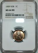 1909-p Vdb Lincoln Cent Ngc Ms66 Rb Sharp Clean Coin