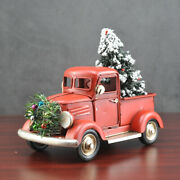 Vintage Metal Classic Rustic Pickup Truck Christmas W/tree Wreath Home Decor Red